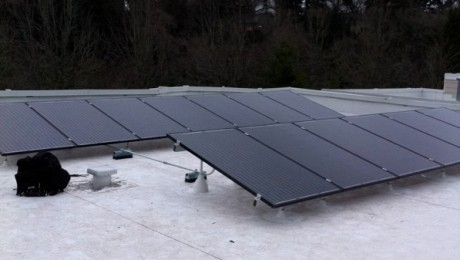 Solar panels on a commercial roofs